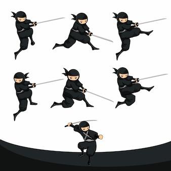 Un ninja noir de bande dessinée tue et poignarde en version réelle