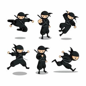 Ninja noir de dessin animé serti de six actions différentes avec action de course
