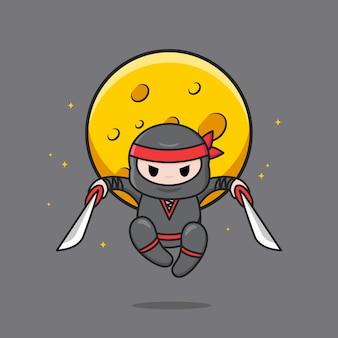 Ninja noir mignon avec bandeau rouge sautant