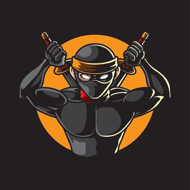 Ninja avec samouraï isolé sur noir