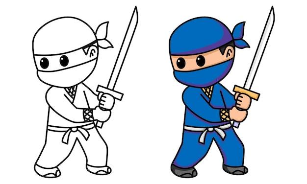 Ninja tenant une épée à colorier pour les enfants