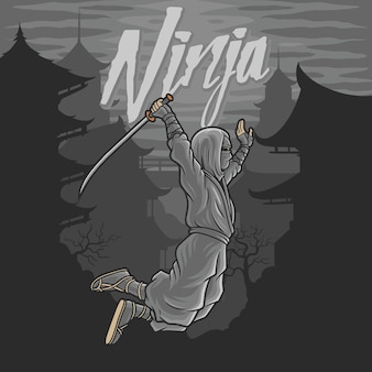 Ninja volant avec épée et fond vieux bâtiment en chinois