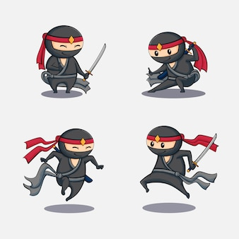 Ninjas mignons avec des poses différentes