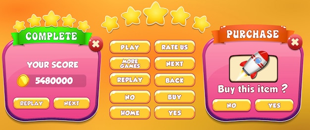 Niveau complet et écran d'achat menu contextuel avec étoiles et bouton