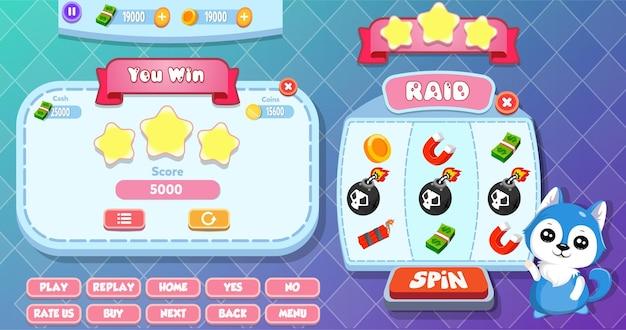 Niveau complet et menu de rotation chanceux pop-up avec cait