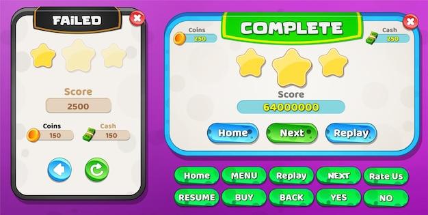 Niveau échoué et niveau complet du menu pop-up avec des boutons