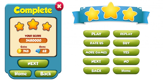 Niveau menu complet pop up avec score étoiles et boutons gui
