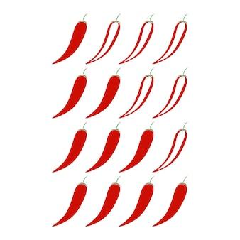 Niveau de piment épicé isolé sur fond blanc. symbole pour le restaurant de menu alimentaire dans un style plat.