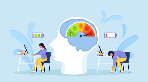 Niveau de stress, échelle d'humeur. efficacité au travail et épuisement professionnel. employé productif vs travailleur épuisé. femme fatiguée, surmenée et heureuse, énergique avec une batterie pleine et basse énergie travaillant sur ordinateur
