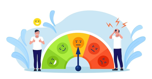 Niveau de stress, échelle d'humeur. l'homme résout les problèmes et réduit la pression psychologique. personne fatiguée à cause d'une surcharge émotionnelle et de travail. burnout et augmentation de la productivité. dépression et maladie mentale