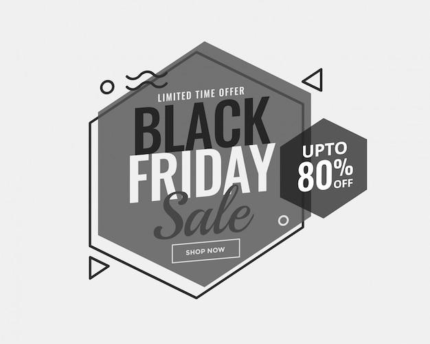 Niveaux de gris noir vendredi conception de bannière de vente de style de memphis