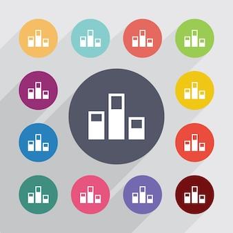 Niveaux, jeu d'icônes plat. boutons colorés ronds. vecteur
