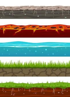 Niveaux sans soudure au sol. surfaces de terre de gibier avec herbe terrestre, sol séché, eau et glace, lave.