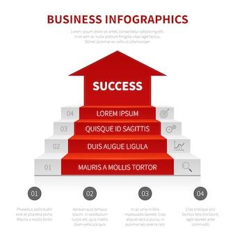 Niveaux de succès vectoriel infographique moderne