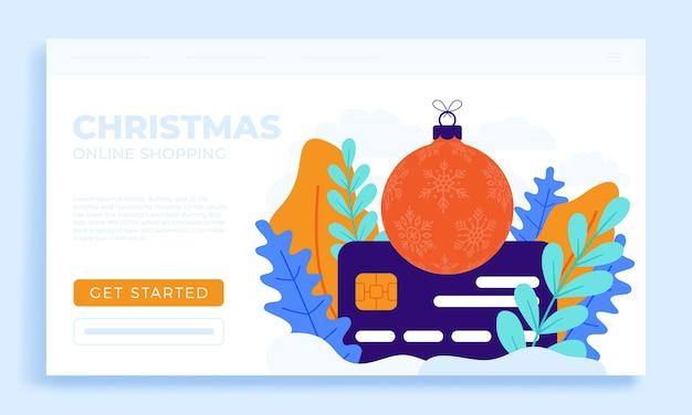 Noël, achats en ligne, carte crédit banque d'illustrations