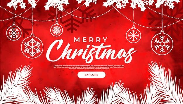 Noël avec aquarelle rouge