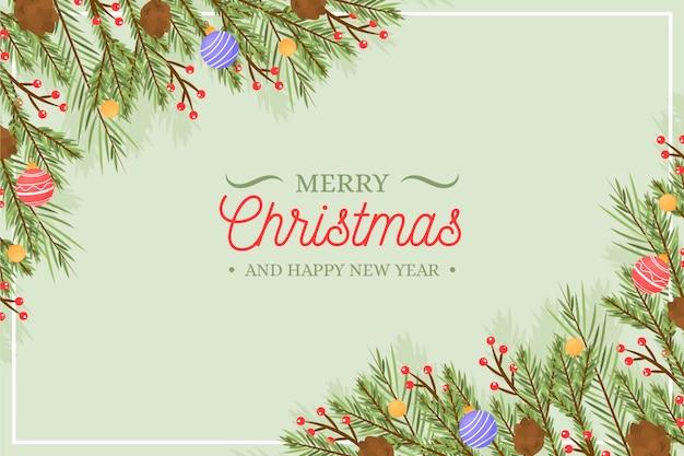 Noël, arbre, branches, fond, dessiné main