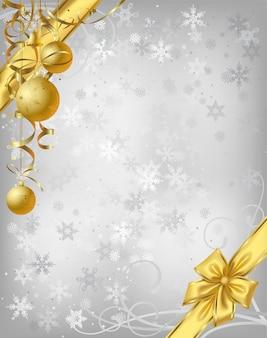 Noël en argent de vecteur avec décoration or.