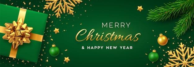 Noël avec bannière de papier carré