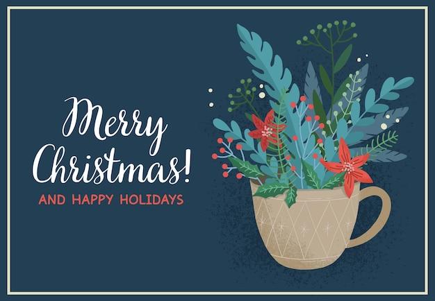 Noël bleu foncé avec tasse et bouquet