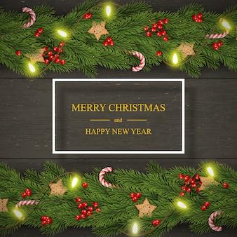 Noël sur bois sombre avec des souhaits, des branches de pin, des baies.
