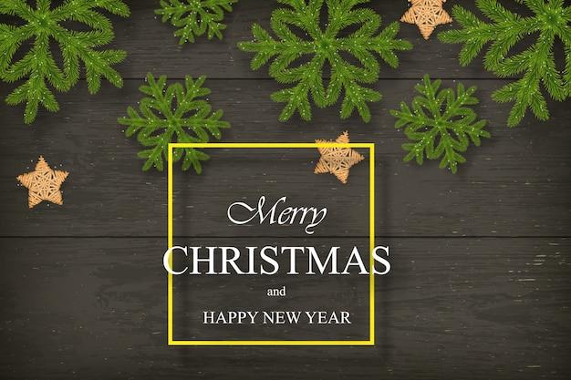 Noël sur bois sombre avec des souhaits, des flocons de pin.