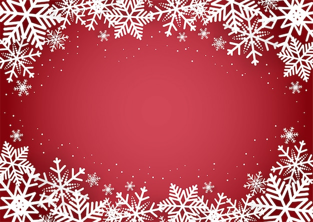 Noël et bonne année fond rouge avec flocon de neige