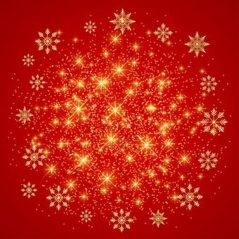 Noël et bonne année sur fond rouge avec des flocons de neige dorés.
