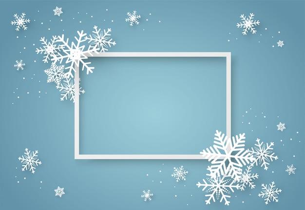 Noël et bonne année fond de vecteur bleu avec flocon de neige