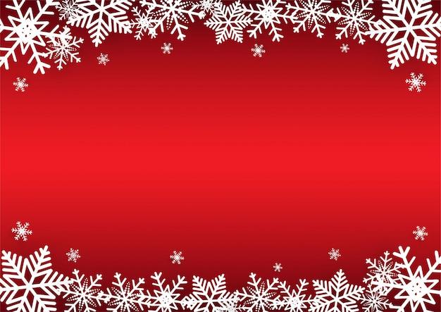Noël et bonne année fond de vecteur rouge avec flocon de neige
