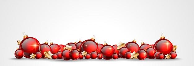 Noël avec des boules brillantes rouges pour votre saisonnier