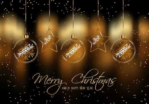 Noël avec des boules suspendues