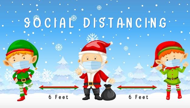 Noël célébrant avec distance sociale