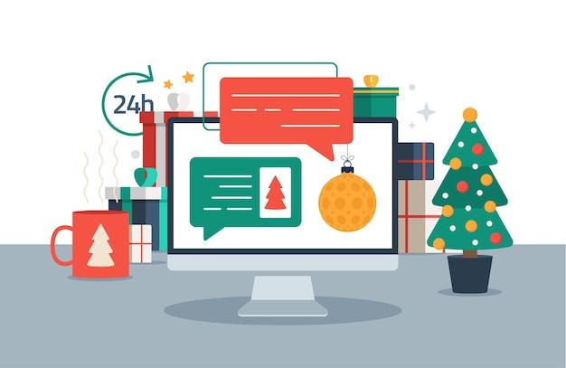 Noël chat sur ordinateur pc messages de chat sur l'illustration en ligne de l'ordinateur