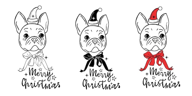 Noël chien clipart bouledogue avec arc bouledogue français