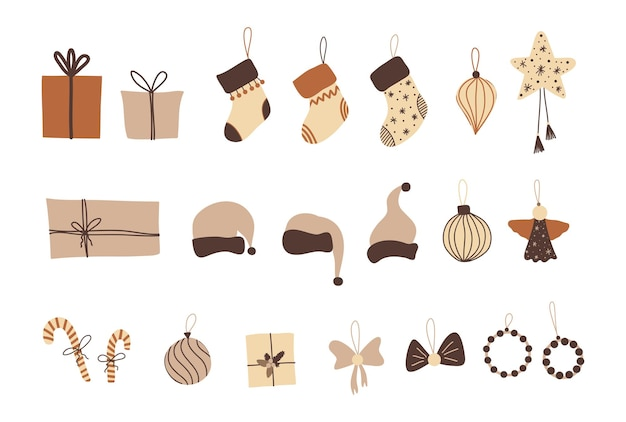Noël dans un style bohème, éléments de dessin animé du nouvel an