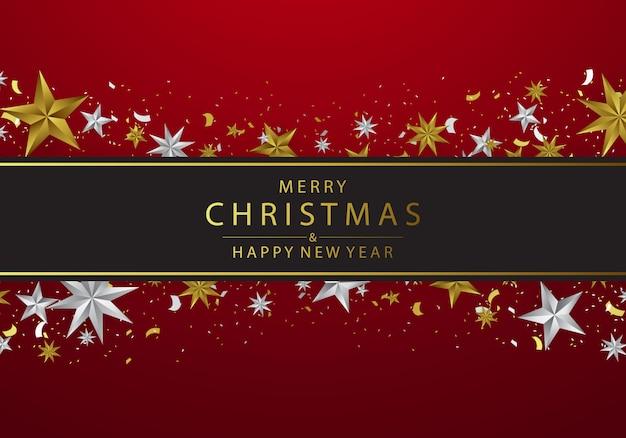 Noël décoré d'élégantes étoiles d'argent et d'or
