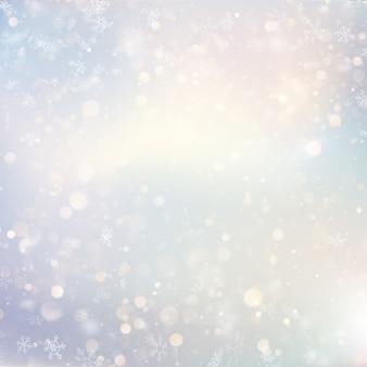Noël défocalisé neige lumière vacances rougeoyant fond d'hiver avec des flocons de neige floues clignotantes. décor lumineux de vacances.