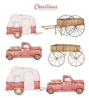 Noël dessin animé mignon voiture rouge aquarelle peinture à la main