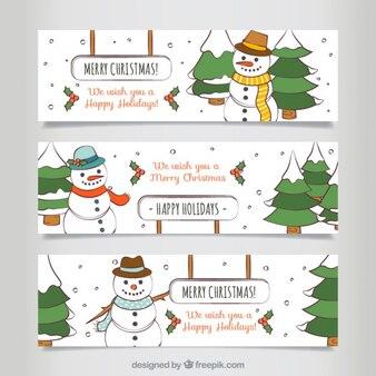Noël dessinés à la main bonhomme de bannières