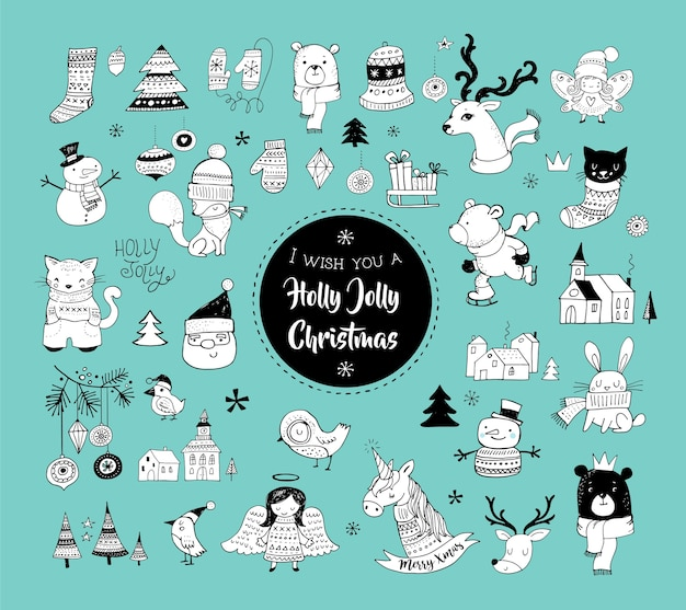 Noël dessinés à la main griffonnages mignons, autocollants, illustrations et éléments