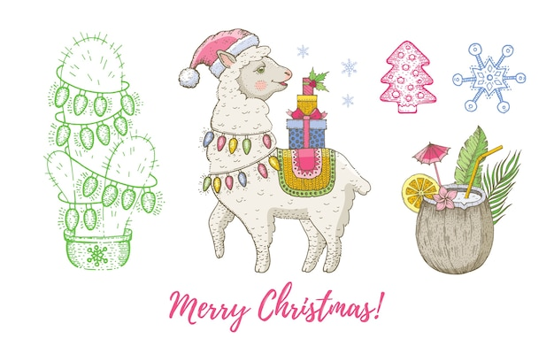 Noël doodle lama animal, noix de coco, cactus avec ensemble de guirlande.