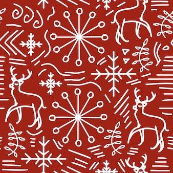 Noël doodle transparente motif couleurs rouges et blanches