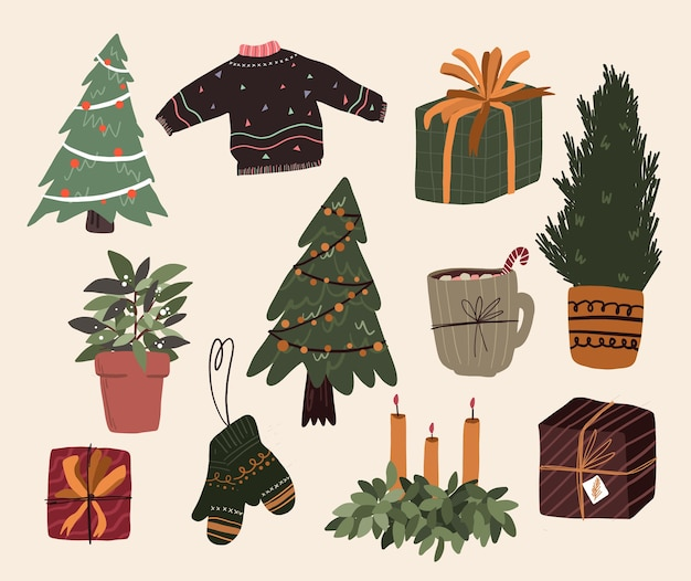 Noël éléments de dessin animé mignon décor intérieur mis conception d'autocollant