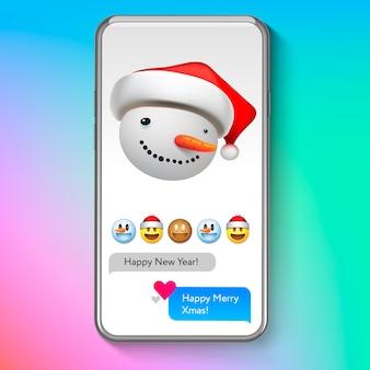 Noël emoji bonhomme de neige dans le chapeau du père noël, émoticône visage sourire vacances