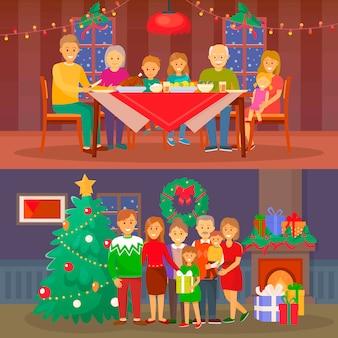 Noël famille gens dînant par table