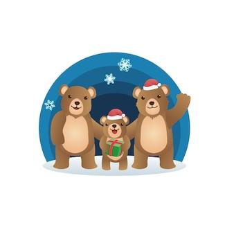 Noël avec la famille de l'ours en peluche