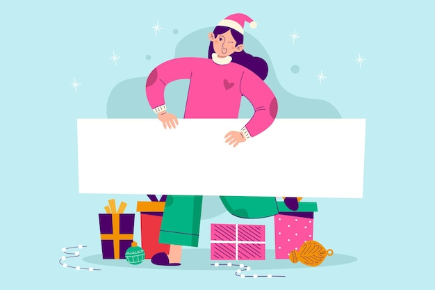 Noël femme tenant une bannière vierge