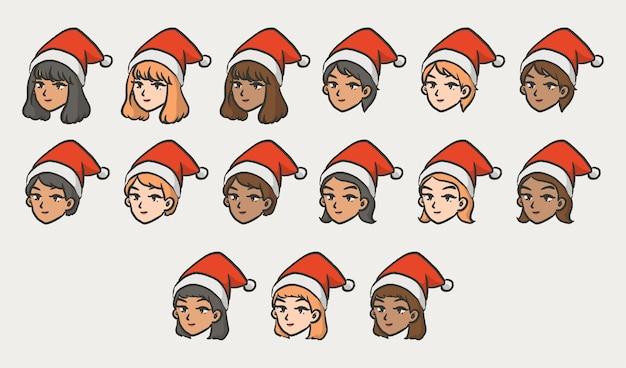 Noël fille personnage avatar style bande dessinée cheveux courts