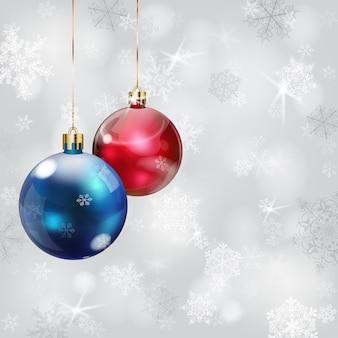 Noël avec des flocons de neige aux couleurs grises et des boules de noël